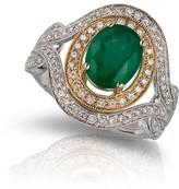 Effy Jewelry Gemma 2-Tone Gold Emerald & Diamond Ring, 2.01 TCW