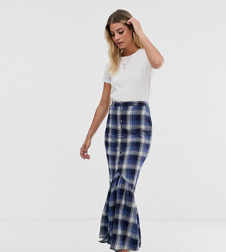 Wednesday's Girl maxi skirt with peplum hem in check-Navy