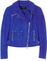 Karen Millen Cobalt-blue Suede Biker Jacket - Blue