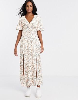 Miss Selfridge angel sleeve maxi dress in peach