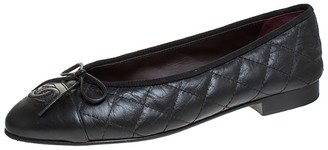 Chanel Black Quilted Leather CC Bow Cap Toe Ballet Flats Size 37