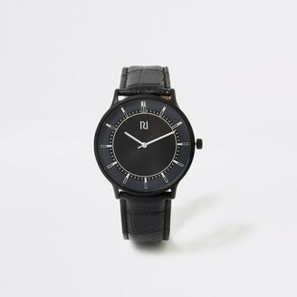 River Island Mens Black strap blue face smart watch