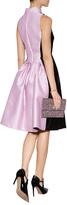Rochas Velvet/Satin Mixed-Media Round Collar Dress
