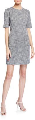 Trina Turk Paradiso Crosshatch Short-Sleeve Sheath Dress