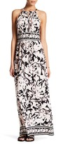 London Times Printed Keyhole Halter Maxi Dress (Petite)