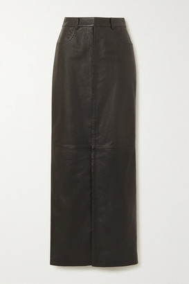 Saint Laurent Leather Maxi Skirt - Black