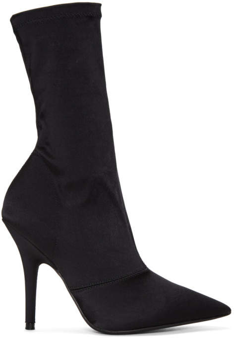 Yeezy Black Stretch Satin Ankle Boots