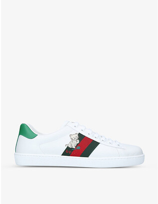 Gucci New Ace animal-patch leather low-top trainers