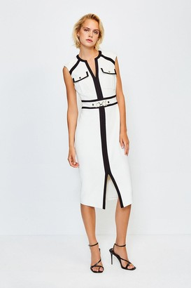 Karen Millen Colour Blocked Buckle Trim Pencil Dress