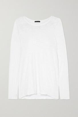 ATM Anthony Thomas Melillo Distressed Slub Cotton-jersey Top - White