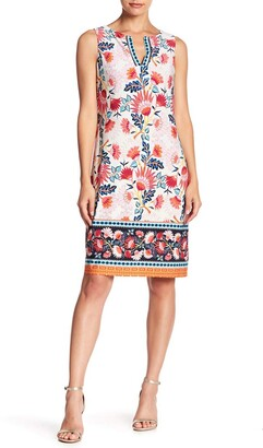 Chetta B Women's Sleeveless Notch Neck Shift Dress