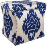 Skyline Nail Button Storage Ottoman, Diamond Blue