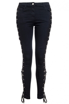 Quiz Black Lace Up Side Skinny Jeans