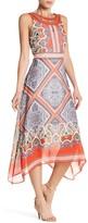 Sandra Darren Embellished Jewel Neck Printed Maxi Dress