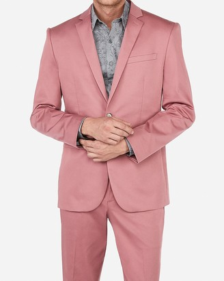 Express Slim Pink Cotton Sateen Performance Stretch Suit Jacket