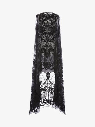 Alexander McQueen Bucolic Embroidered Tulle Dress