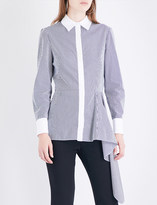Alexander McQueen Asymmetric peplum cotton-poplin shirt