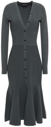 Narciso Rodriguez Fluted Button-embellished Ponte Dress