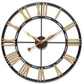 """Infinity Instruments Cologne Quartz Movement Wall Clock - 45""""D - Brown/Black"""