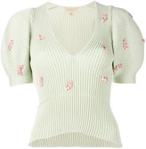 Giambattista Valli puff-sleeve top - women - Cotton/Polyamide/Polyester/glass - 40