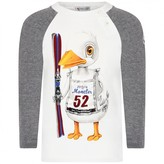 Moncler MonclerBaby Boys Ivory & Grey Baby Boys Ivory & Grey Duck Print TopDuck Print Top