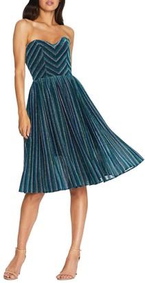 Dress the Population Rosalie Metallic Stripe Strapless Cocktail Dress