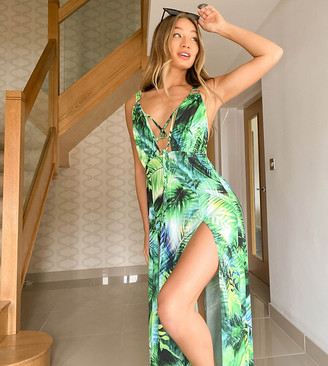Ei8th Hour exclusive maxi dress with lattice plunge and double thigh split in tropical print