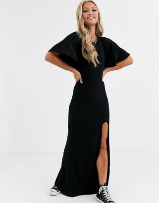 Asos Design DESIGN flutter sleeve backless maxi dress with high split-Black