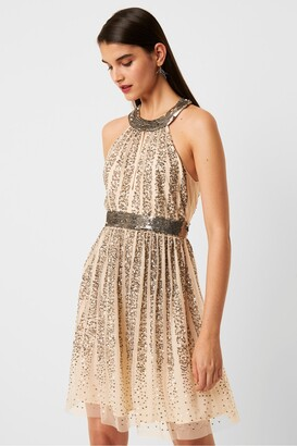 French Connection Aello Embellished Sequin Mesh Neck Dress