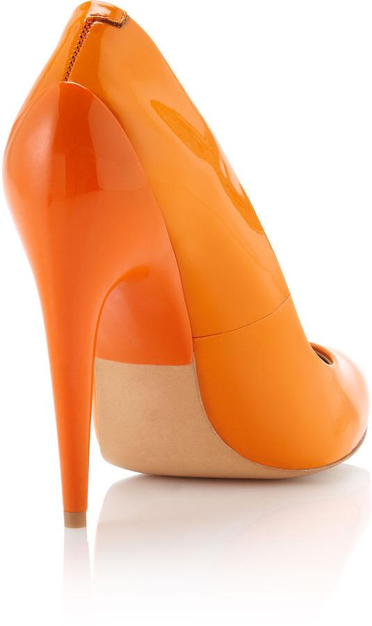 L.A.M.B. Jacelyn Pointy Patent Pump, Orange