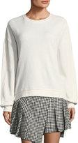 McQ Slouchy Crewneck Sweatshirt with Lace Trim