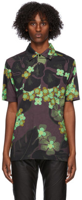 Dries Van Noten Green and Purple Flower Polo