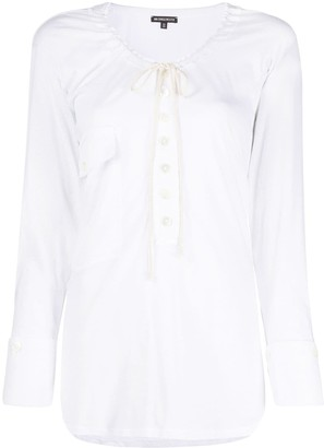 Ann Demeulemeester Long-Sleeved Tie-Neck Top