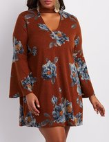 Charlotte Russe Plus Size Floral Cut-Out Mock Neck Dress