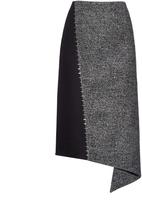 Balenciaga Staples detail wool-blend midi skirt