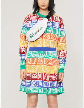 Benetton Patchwork-pattern wool-blend mini skirt