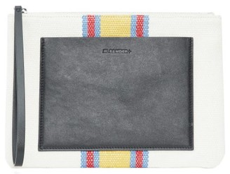 Jil Sander Striped Linen-canvas And Leather Pouch - White Multi