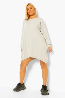 boohoo Petite Oversized Boyfriend Knitted Dress