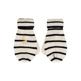 Ikks IKKSBaby Girls Ivory & Navy Striped Mittens
