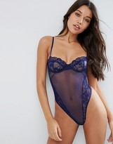 Asos Cacey Fishnet & Lace Underwire Thong Bodysuit