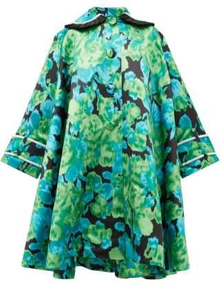 Richard Quinn Crystal Embellished Floral Satin Opera Coat - Womens - Green Multi