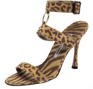Manolo Blahnik Muticolor Leopard Print Suede Ankle Strap Sandals Size 35