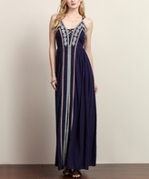 Navy Embroidered Lace-Up Maxi Dress