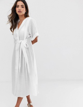 Y.A.S textured cotton tie waist shirt dress