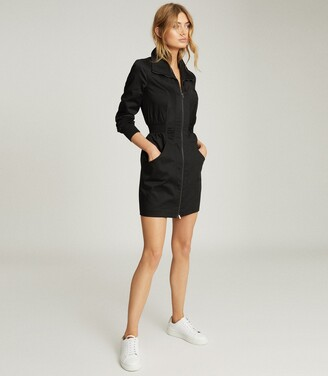 Reiss Greta - Zip-through Utility Dress in Black