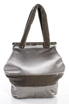 Barneys New York Taupe Velvet Trim Clutch Evening Handbag