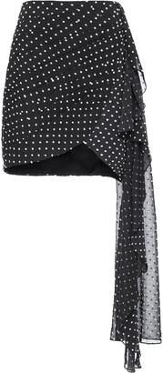 PatBO Polka-Dot Draped Mini Skirt