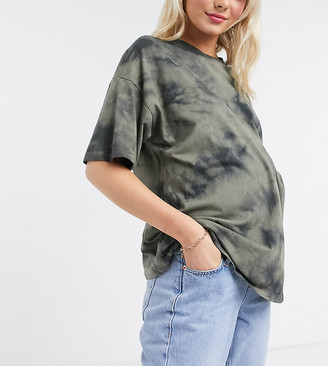 ASOS DESIGN Maternity oversized t-shirt in tonal khaki tie dye