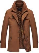 OCHENTA Men's Casual Single Breasted and Zipper Woolen Overcoat Dark Grey Tag L - US S