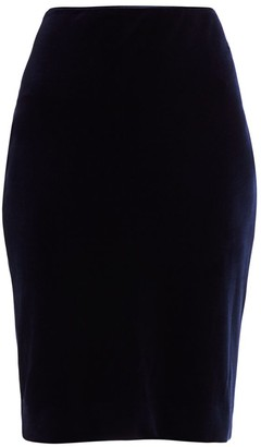 Teri Jon By Rickie Freeman Velvet Ruched Pencil Skirt